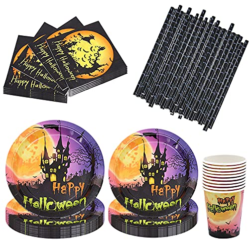 Syijupo 75Pcs Halloween Party Tableware Set,Straws,Napkins Cups ,Paper Tableware and Decorations for Halloween,Party Plates Tableware Reusable Cutlery for Birthday