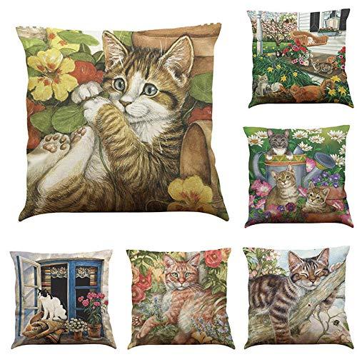 Juego de Funda de cojín de 6 Gatos Perezosos es diseño de Flores de Lino Almohada de algodón Funda de cojín Asiento Coche sofá decoración Funda de Almohada 45x45 cm