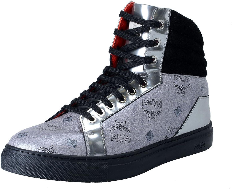 MCM Visetos Women's Silver Hi Top Fashion Sneakers shoes