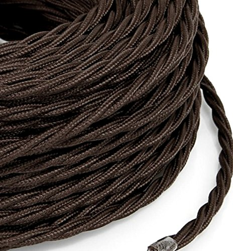 Câble électrique tressé tresse style vintage marron avec revêtement en tissu coloré section 2 x 0,75 pour lustres, lampes, abat jour, Design. Fabriqué en Italie