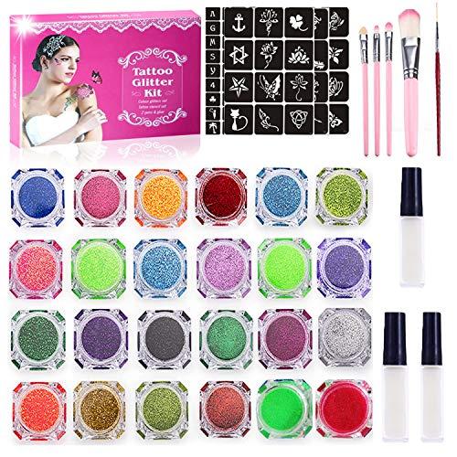 Glitter Tattoo kit met 13 '' Geschenkdoos - Tijdelijke tattoo set, 24 kleuren glitter, 125 Stencil, 4 Borstels, 3 lijm,Body Nail Glitter Art verf voor Meisjes Kinderen Volwassen Verjaardagsfeestje