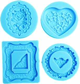 YunKo 4 Pack Heart Rose Round Mirror Frames Silicone Molds Fondant Cake Decoration Molds