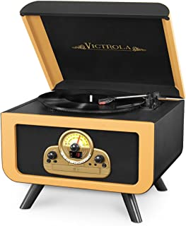Victrola Tabletop Nostalgic Bluetooth Wooden Turntable Entertainment Center