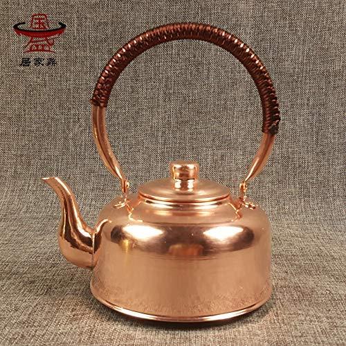 Teakettle - Tetera de cobre hecha a mano con cobre puro, tetera de cobre puro, tetera de cobre y cobre puro, hervidor de agua para restaurante especial de 1 L, cocina de inducción de cobre