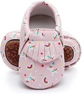 Cartoon Baby Moccasins - Vegan Baby Girls Boys Shoes with Rubber Sole for First Walker Toddler Mermaid Printing