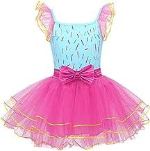 dPois Kids Girls' Fancy Flutter Sleeves Mesh Tutu Dress Halloween Birthday Dress Up Costume