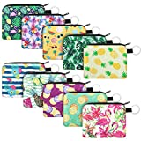 10 Pieces Small Coin Purse Boho Change Purse Pouch Mini Wallet Coin Bag with Zipper for Women Girls (Tropical Series)