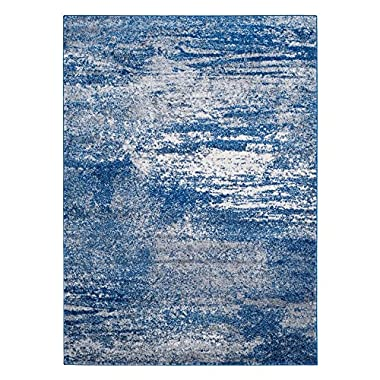 Safavieh Evoke Collection EVK272A Distressed Modern Abstract Navy and Ivory Square Area Rug (5'1  Square)
