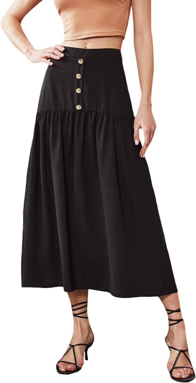 SweatyRocks Women's High Waist Button Front Pleated Flared A Line Midi Skirt
