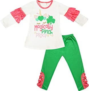 AMK Baby Toddler Little Girls St. Patrick's Day Outfit Sets - 2 Piece Top Leggings Patty's Theme