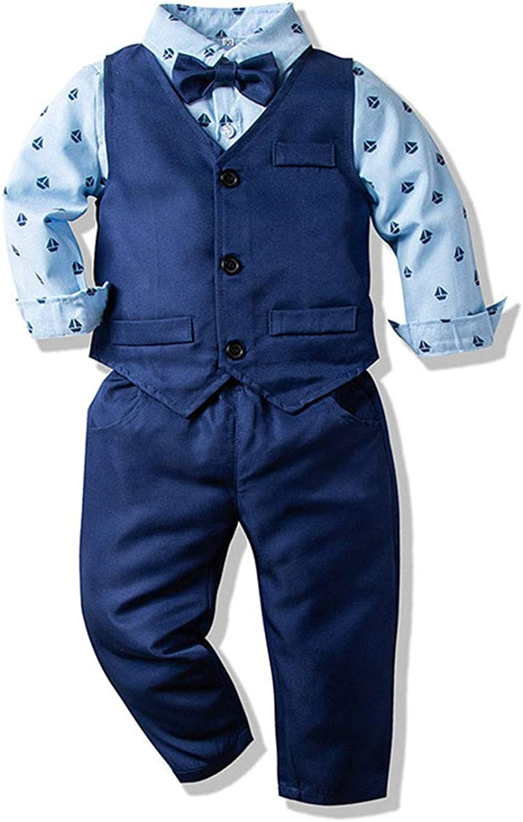 Abolai Boys' 4 Piece Vest Set with Blue Shirt,Bowtie,Vest and Pant