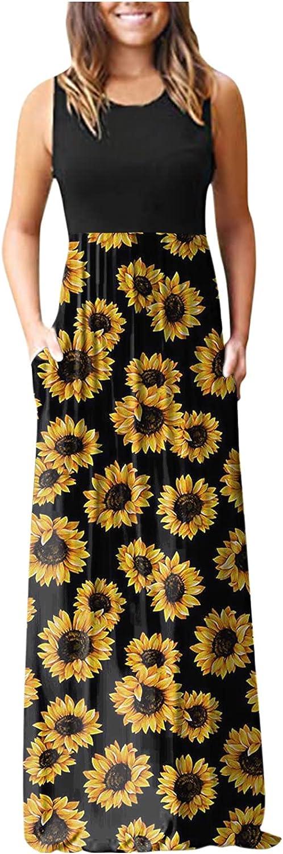Aniwood Maxi Dress for Women, Women's Casual Sleeveless Daisy Printing Long Dress Beach Sundress Party Cami Tank Dress
