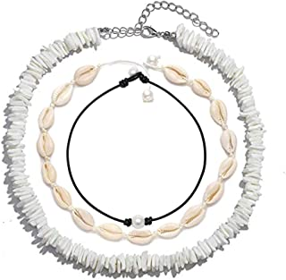 Olisaglan Puka Chip Shell Necklace Choker for Women Men - Tropical Hawaiian Beach Puka Chips Shell Surfer Choker Necklace Jewelry Adjustable (White)