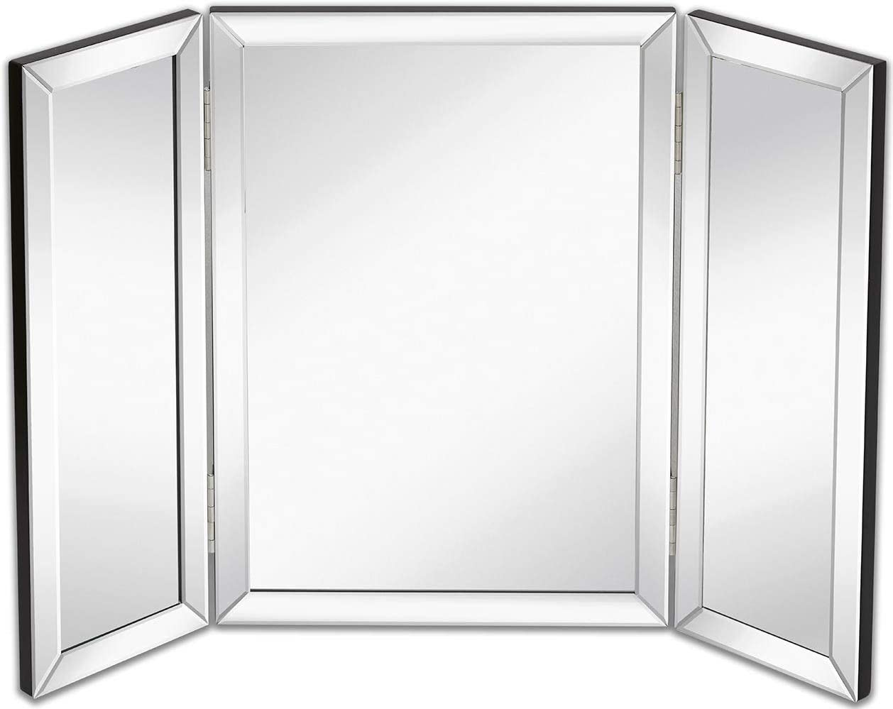 Amazon Com Hamilton Hills Trifold Vanity Mirror Solid Hinged Sided Tri Fold Beveled Mirrored Edges 3 Way Hangable On Wall Or Tabletop Cosmetic Makeup Mirror 21 X 30
