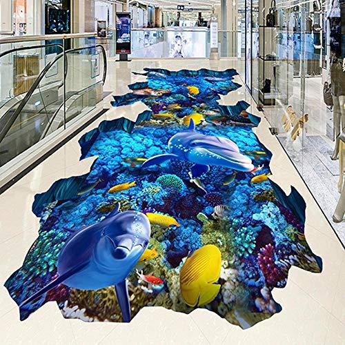 Mural de suelo autoadhesivo personalizado Submarine World Dolphin Coral 3D Azulejos de suelo Papel tapiz para exteriores Mall Wear Papel tapiz antideslizante 3D-430 * 300cm