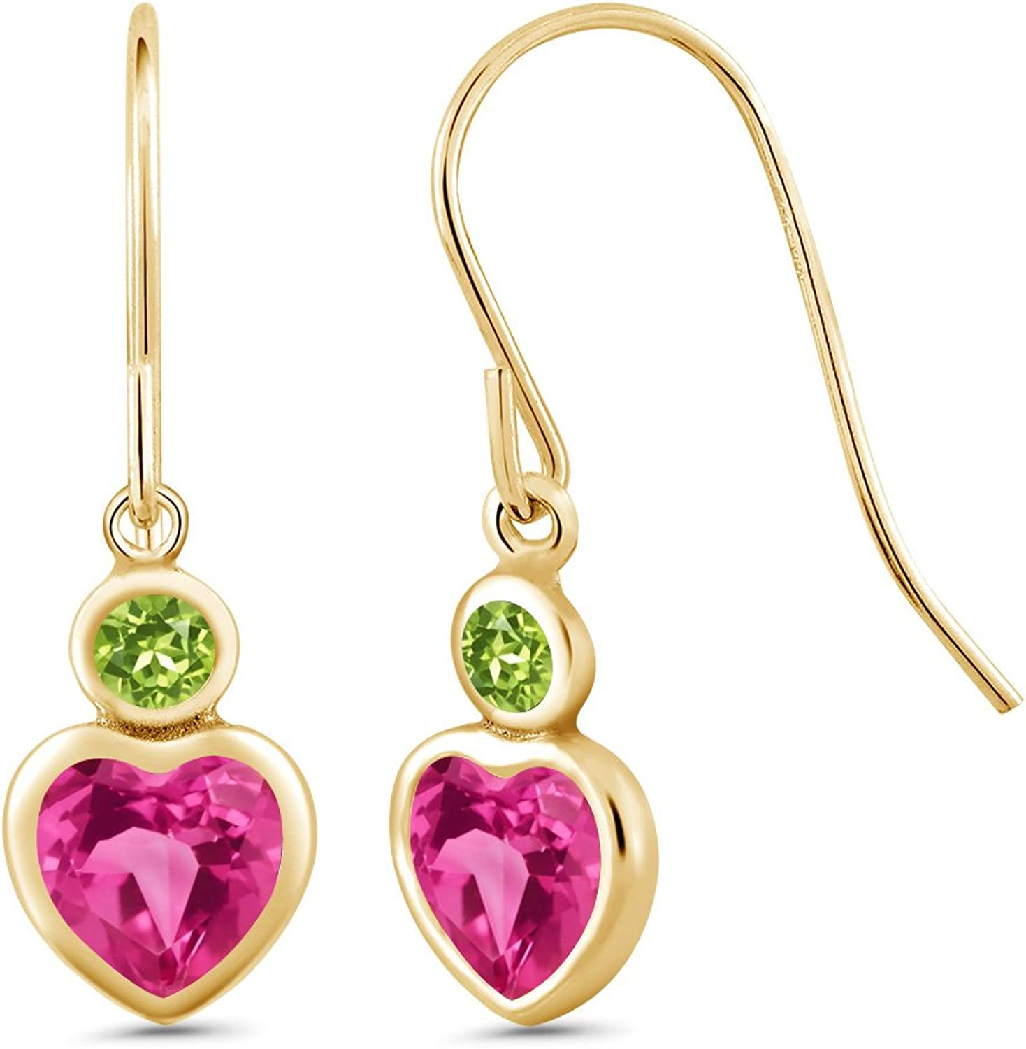 1.44 Ct Heart Shape Pink Created Sapphire Green Peridot 14K Yellow gold Earrings