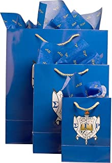Cultural Exchange Sigma Gamma Rho Crest Paper Gift Bag Set [3 Per Pack - Blue]