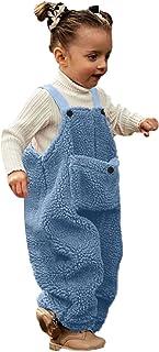 طفل رضيع الفتيات الفتيان الشتاء رومبير ملابس الاطفال الصوف حمالة بذلة السراويل وزرة السراويل (Color : Blue, Size : 3-4 Years)