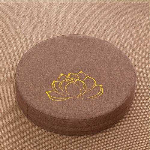 QYDF Large round futon cushion, cotton and linen digester floor cushion household tatami balcony bay window seat cushions, detachable,D1,Diameter*50cm[thick*10cm]