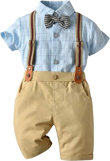 AmzBarley Bebé Niño Caballeros Traje de Esmoquin Formal Camisa de Vestir Vtuendo Infantil Chaleco Pantalones Bautizo Conjuntos para Fiesta Nocturna ...
