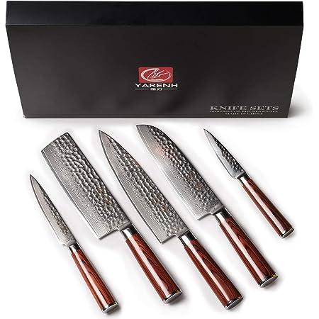 YARENH 5 Pièces Set Couteau Cuisine Professionnel,Couteaux en Acier Japonais Damas Acier,Set Couteaux Cuisine Damas Japonais Contient 5 Malette Pro Couteau de Cuisines Professionnel
