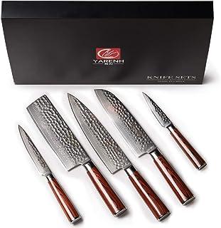 YARENH 5 Pièces Set Couteau Cuisine Professionnel,Couteaux en Acier Japonais Damas Acier,Set Couteaux Cuisine Damas Japona...