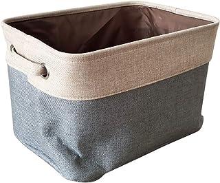 Boîte de rangement en coton et lin Panier de rangement pliable Panier Grande boîte de rangement pliable Boîtes de toile ou...
