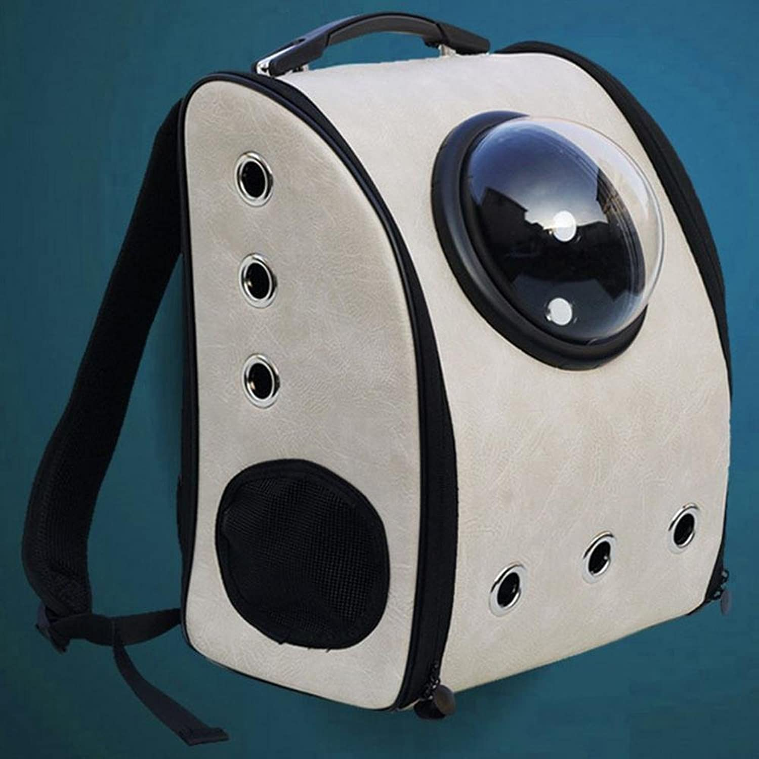 Daeou Pet Backpack A Square Space Bag Out of a Portable Space Capsule Breathable Shoulder pet Backpack 32  29  42cm PU