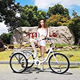 NANDIYNZHI Adult Tricycle Cruise Trike, Women's&Seniors Shopping 24-inch 3 Speed Trike Bikes Bicycles with Large Basket for Recreation, Picnics Exercise [US in Stock, Shipping from US]