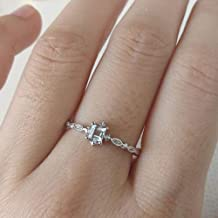 Greendou Fashion Jewelry 925 Sterling Silver Dainty Blue Crystal Ring for Women Simple Style Square Engagement Finger Ring Ladies Fashion Jewelry (9)