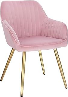 Lestarain 1X Sillas de Comedor Dining Chairs Sillas Tapizadas Paquete de 1 Sillas Cocina Nórdicas Terciopelo Sillas Bar Metal Silla de Oficina Rosa