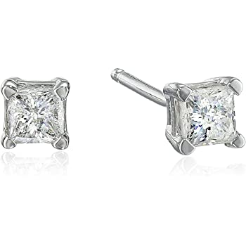 10k White Gold Princess Diamond Stud Earrings (J-K Color, I2-I3 Clarity)
