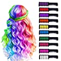 10 Color Hair Chalk for Girls Kids, Temporary Bright Hair Color Chalk Comb Set for Girls Of Ages 4 5 6 7 8 9 10+ Perfect Birthday Gifts Christmas New Year Costume Cosplay DIY Party Favors for Girls Kids