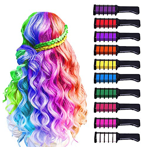 10 Color Hair Chalk for Girls Kids, Temporary Bright Hair Color Chalk Comb Set for Girls Of Ages 4 5 6 7 8 9 10+ Perfect Birthday Gifts Halloween Costume Cosplay Party Favors for Girls Kids