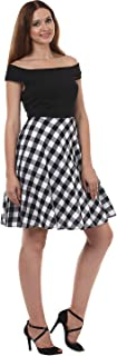 Lady Stark Women's A-Line Dress (LSDR45014-M, Black and White, Medium)