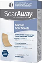 ScarAway Professional Grade Silicone Scar Treatment Sheets, Prevents & Treats Old and New Scars, 12 Count