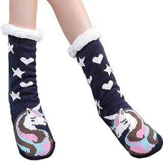 ANGUYA, Mujer Navidad Calcetines Invierno Calentar Pantuflas de Estar Por Casa Super Suaves Cómodos Calcetines Antideslizante