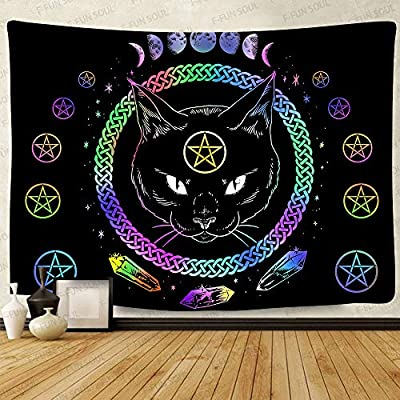 Mysterious Divination Black Cat Witchcraft Tapestry, Large 80x60inches Soft Cotton, Eclipse Colorful Art Wall Hanging Tapestries for Living Room Bedroom Decor GTZYFS308