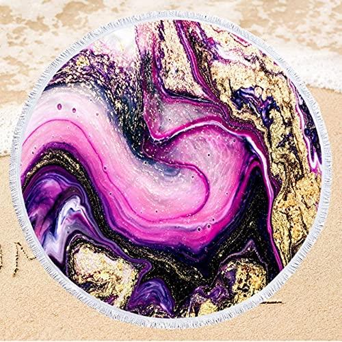 IAMZHL Toalla de Playa Redonda de Microfibra con Estampado de 150 cm Toalla de baño Suave para Nadar con Borla Toalla de Playa de Verano-a45-Diameter 150cm