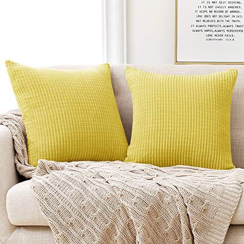 Deconovo Funda para cojin Almohada Decorativa Prodector del Sofa Silla 2 Piezas 60x60cm Amarillo