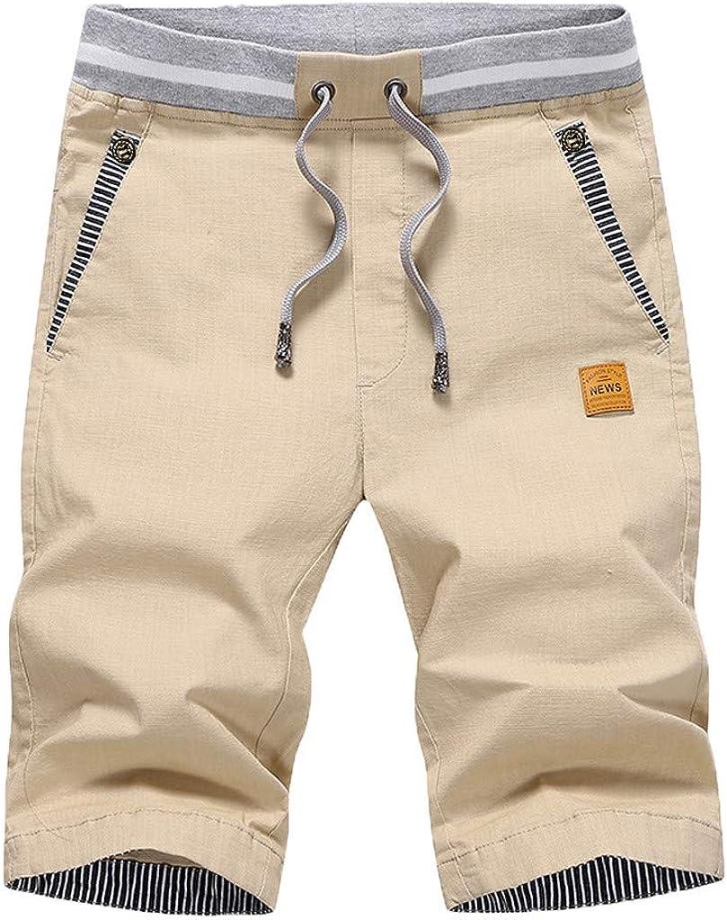 Men s Cargo Shorts,Male Summer Casual Solid Short Trouser Baggy Elastic Waist Drawstring Beach Pant