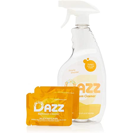 Amazon Com Dazz Bathroom Cleaner Starter Kit 1 Reusable Spray Bottle 2 Refills Tile Tub Shower Countertop And Bathroom Surfaces All Natural Eco Friendly Non Toxic Safe For Kids Pets