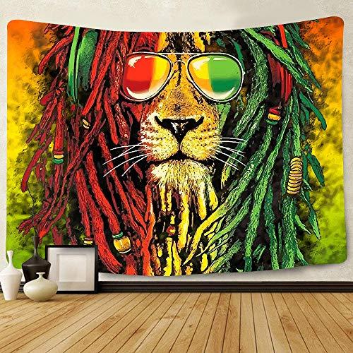 wymhzp Tapiz Cabeza de león Marley Bob Tapiz telón de Fondo para Sala de Estar decoración de Dormitorio 150x130cm