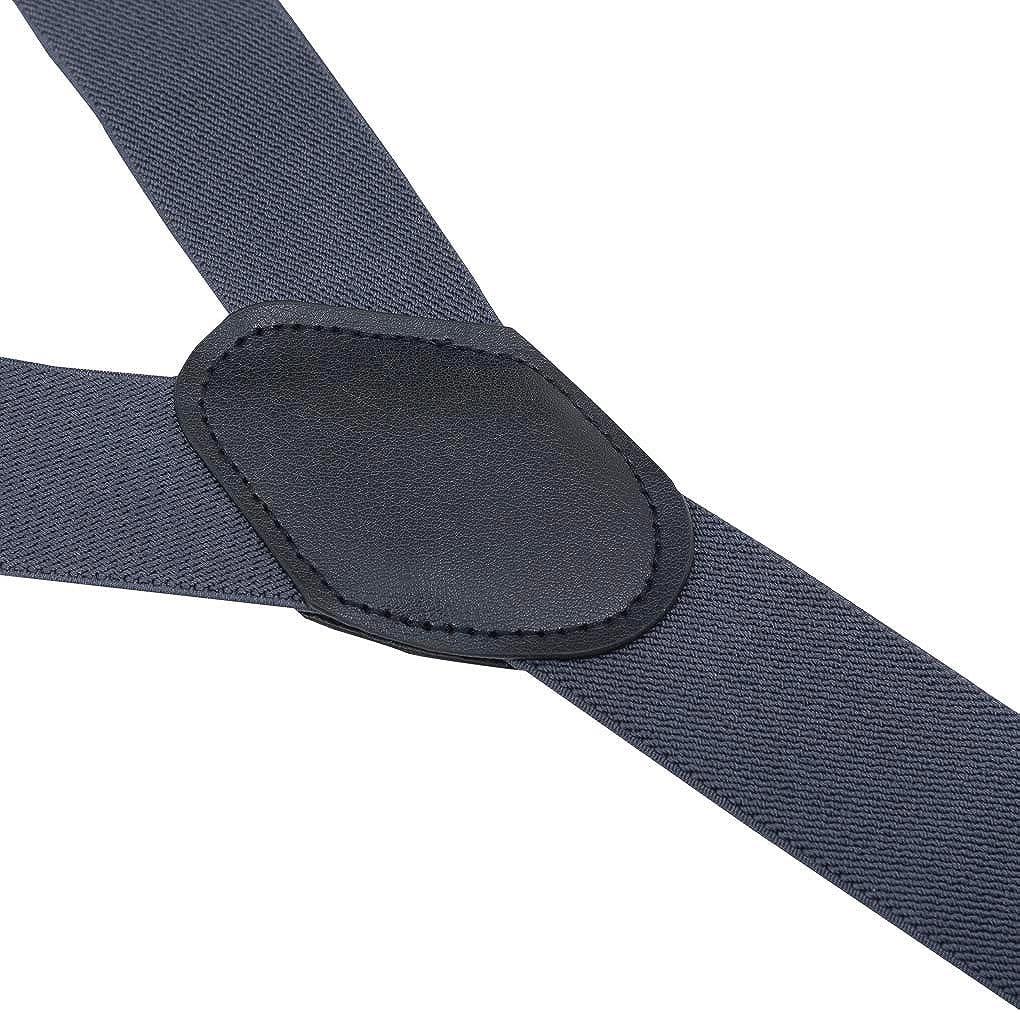 Men Braces Plomkeest Men Suspenders 3 Buckles Stripe Y Back Wide 3.5 cm Durable Elastic Adjustable Heavy Duty Suspenders Strong Metal Clips