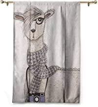 Andrea Sam Rod Pocket Curtain Teen Room,Hipster Lama Figure with Hair Style and Camera Artist Animal Humorous Graphic, Beige Tan,23