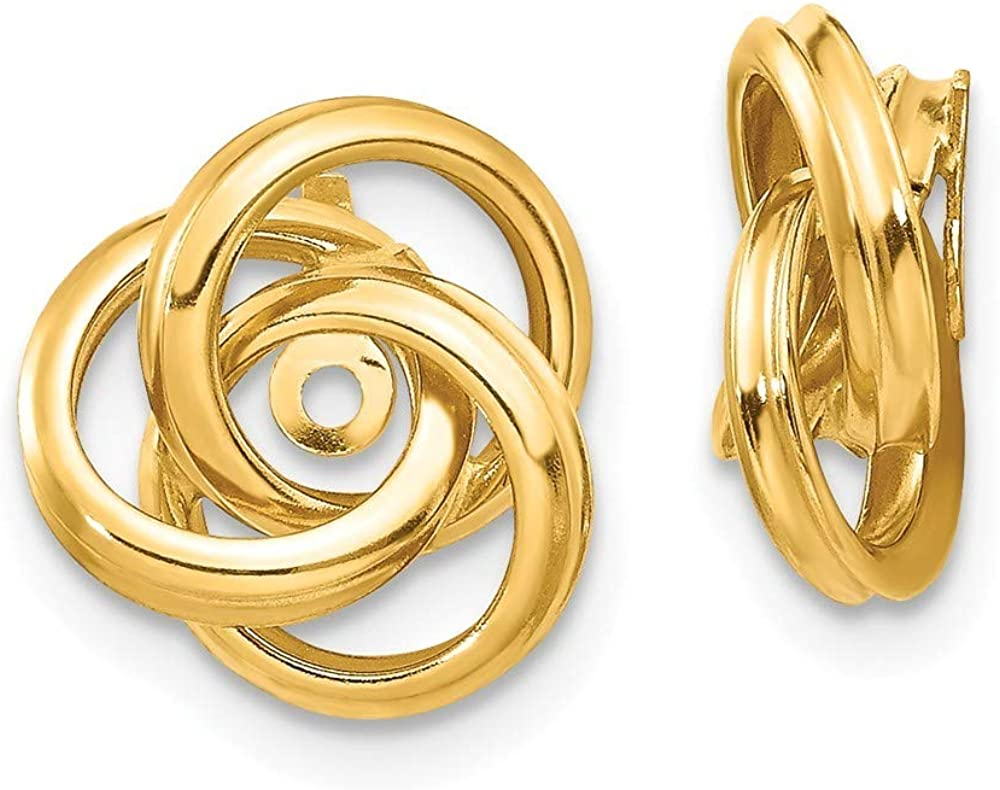 Roy Rose Jewelry 14K Yellow Gold Polished Love Knot Earring Jackets 12mm length