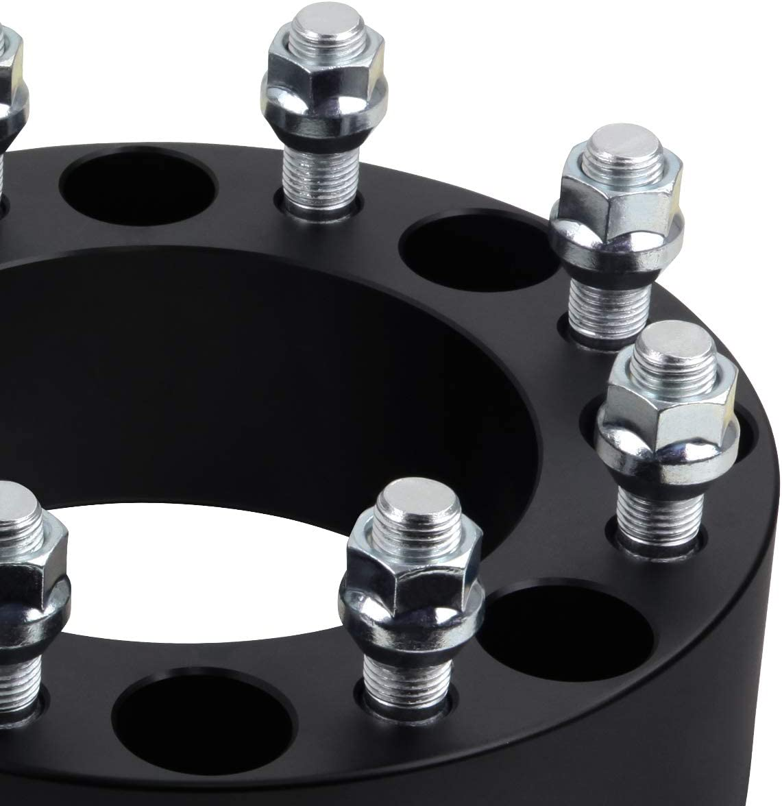 Black 2x 2 Wheel Spacers for 2000-2010 Chevy Silverado 2500HD Wheel Adapters 8x165.1 to 8x170 mm with M14x1.5 Studs 2005+ F250 Super Duty Wheels on Silverado 2500HD Supreme Suspensions