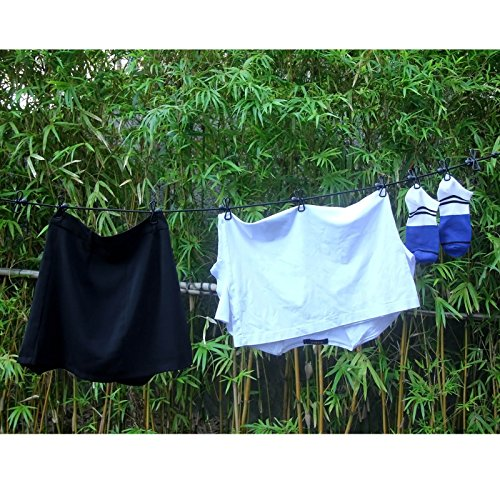 Hawatour Portable Elastic Travel Clothesline with 12pcs Clothespins Travel Gadgets for Outdoor and Indoor Use (Black)