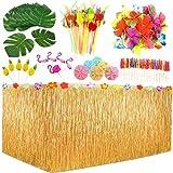 Luau Lot de 123 jupes de table hawaïennes, feuilles de palmier, fleurs hawaïennes, parapluies multicolores, décoration de gâteau et pailles de fruits 3D pour barbecue, jardin tropical décorations