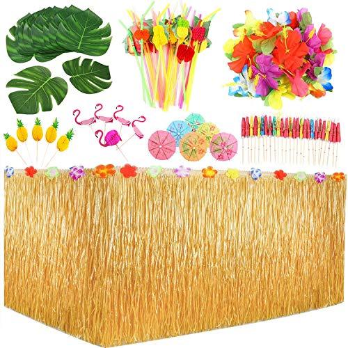 123 piezas hawaiano Luau juego de faldas de mesa, hojas de palma, flores hawaianas, paraguas multicolor, decoración de tartas y pajitas de fruta 3D para barbacoa, jardín tropical, playa, verano
